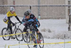 Snow falls on the Riders