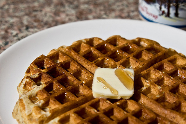 By kim siciliano (Flickr: first waffle attempt) [CC-BY-SA-2.0 (http://creativecommons.org/licenses/by-sa/2.0)], via Wikimedia Commons