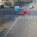 Russian Cyclist Hit by Truck – Escapes Injury